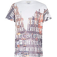 Boys white city text print t-shirt