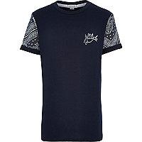 Boys navy paisley sleeve attitude t-shirt