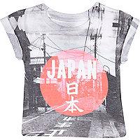 Mini boys white Japan print t-shirt
