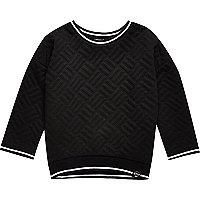 Mini boys black quilted white trim sweatshirt
