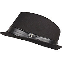 Boys black smart skull trim trilby hat