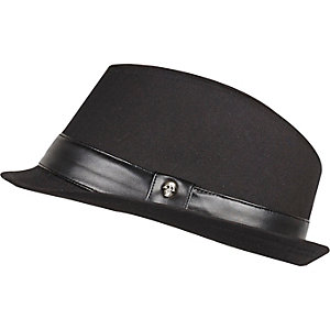 Boys black smart skull trim trilby hat