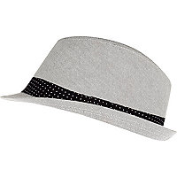 Boys grey smart trilby hat
