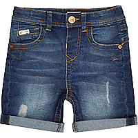 Mini boys blue denim shorts