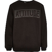 Boys black attitude print quilted sweatshirt