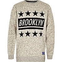 Boys grey Brooklyn star flock sweatshirt