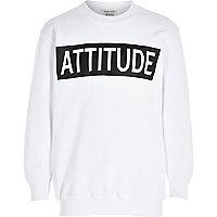 Boys white attitude print sweatshirt