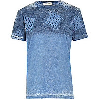 Boys blue bandanna print t-shirt