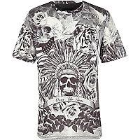 Boys white skull and rose print t-shirt