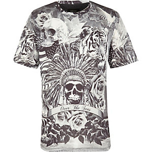 Boys white skull and rose print t-shirt