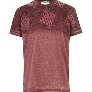 Boys red bandanna print t-shirt
