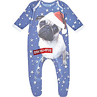 Mini boys blue star Bah Humpug pug sleepsuit