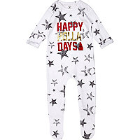 Mini boys white happy holla days sleepsuit