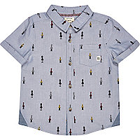 Mini boys blue soldier print shirt