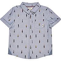 Mini boys blue soldier print shirt
