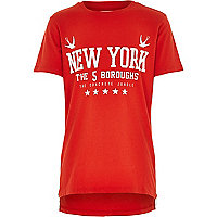 Boys red zip hem New York print t-shirt