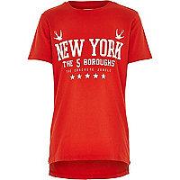Boys red zip hem New York print t-shirt