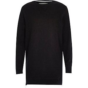 Boys black side zip longline sweatshirt