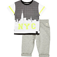 Mini boys NYC white t-shirt and jogger set