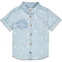 Mini boys light blue denim star print shirt