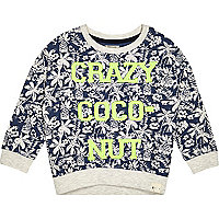 Mini boys blue crazy coconut sweatshirt