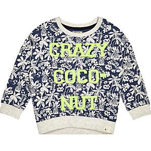 Mini boys blue crazy coconut sweatshirt