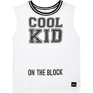 Mini boys white cool kid sporty tank top