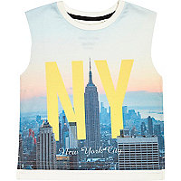 Mini boys blue New York city tank top