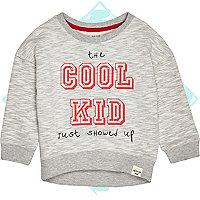 Mini boys grey cool kid showed up sweatshirt