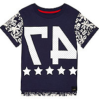 Mini boys blue tropical print 47 t-shirt