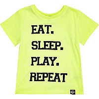 Mini boys green eat sleep play repeat t-shirt