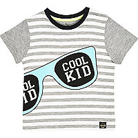 Mini boys grey stripe sunglasses t-shirt