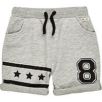 Mini boys grey jersey star print shorts
