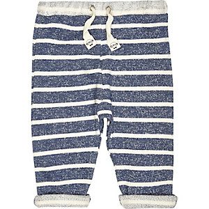Mini boys blue stripe joggers