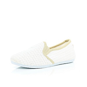 Boys white slip on plimsolls