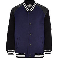 Boys navy and black bomber jacket