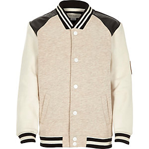 Boys beige leather-look contrast bomber