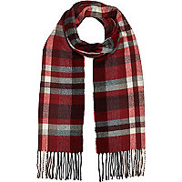 Boys red and grey tartan scarf