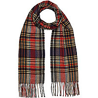 Boys red and blue tartan scarf
