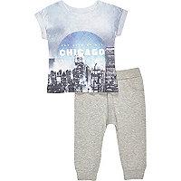 Mini boys Chicago t-shirt and jogger set
