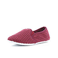 Boys dark red slip on mesh shoes