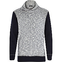 Boys grey and navy tulip neck sweatshirt