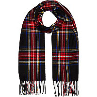 Boys red and black tartan scarf