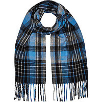 Boys blue and grey tartan scarf