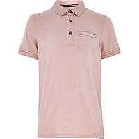 Boys light pink washed polo shirt