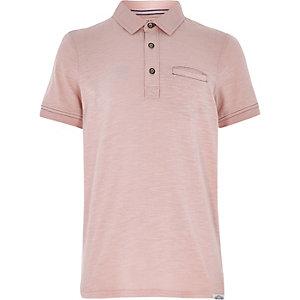Boys light pink washed polo shirt