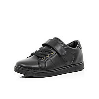 Boys black smart Velcro trainers