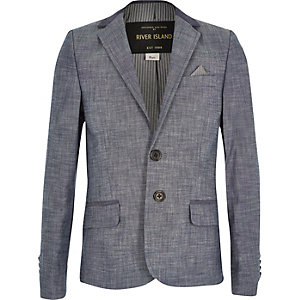 Boys blue chambray suit blazer