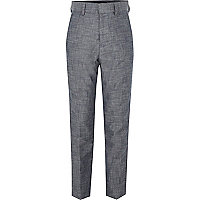 Boys blue chambray suit trousers