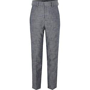 Boys blue chambray suit pants